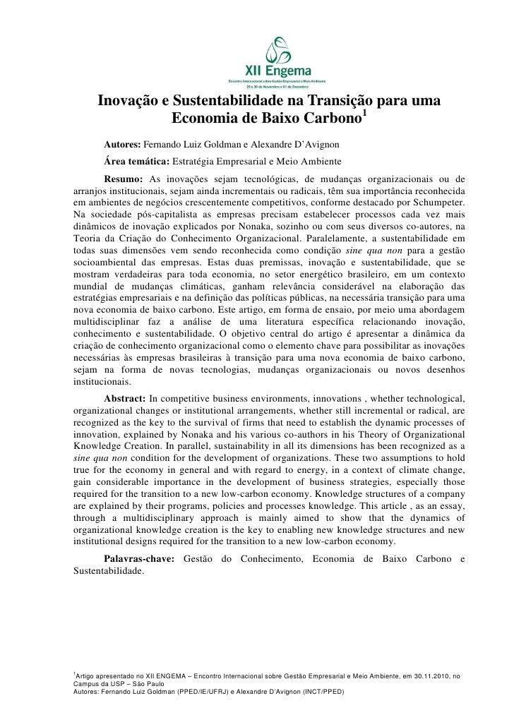 Engema inovacao e sustentabilidade na transicao para uma economia de baixo carbono[1]