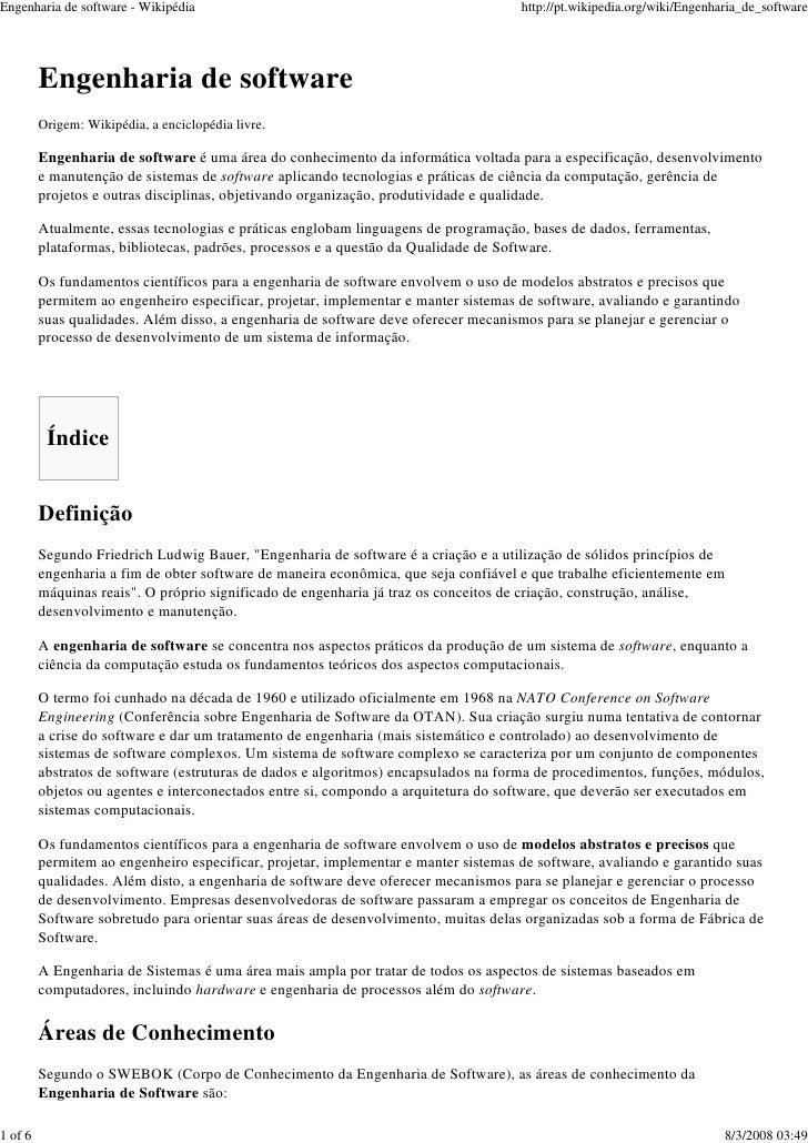 Engenharia de software - Wikipédia                                                   http://pt.wikipedia.org/wiki/Engenhar...