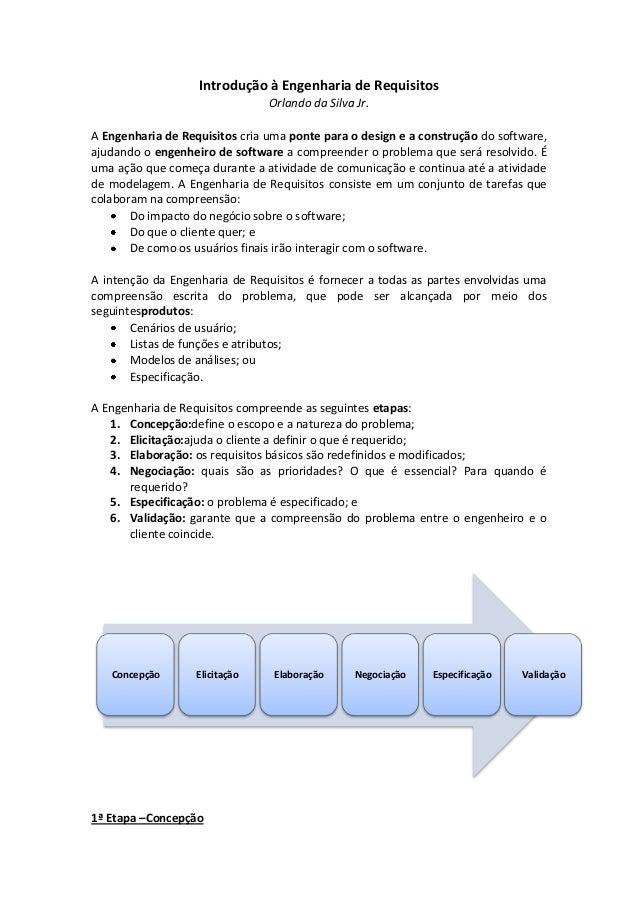 Introdução à Engenharia de Requisitos Orlando da Silva Jr. A Engenharia de Requisitos cria uma ponte para o design e a con...
