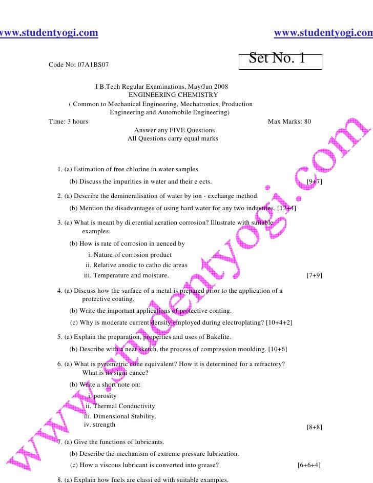 Engineering Chemistry 1 Jntu Model Paper{Www.Studentyogi.Com}