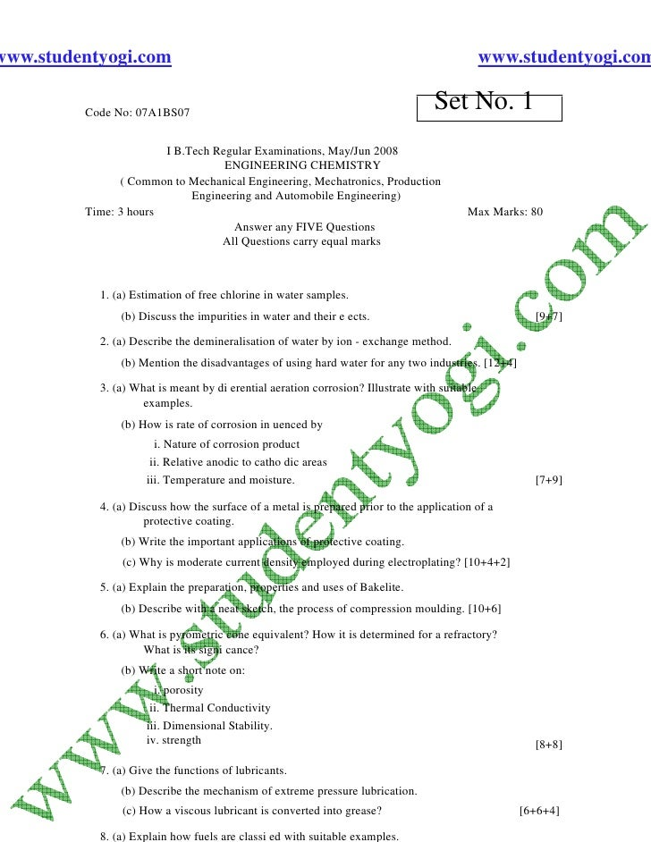Engineering Chemistry 2  Jntu Model Paper{Www.Studentyogi.Com}