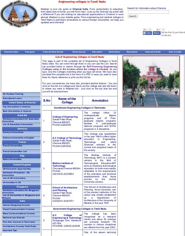 Engineering colleges in Tamil Nadu Madrasi is your city guide to Chennai India. From automobiles to education, from latest...