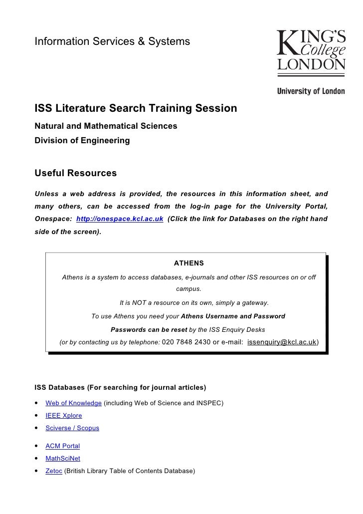 Information Services & SystemsISS Literature Search Training SessionNatural and Mathematical SciencesDivision of Engineeri...