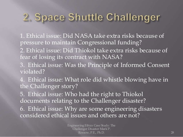 case study the challenger and columbia shuttle disasters Case study 1 the challenger space shuttle disaster and the solid-fuel rocket booster (srb) project overview on 28 january,1986 the.