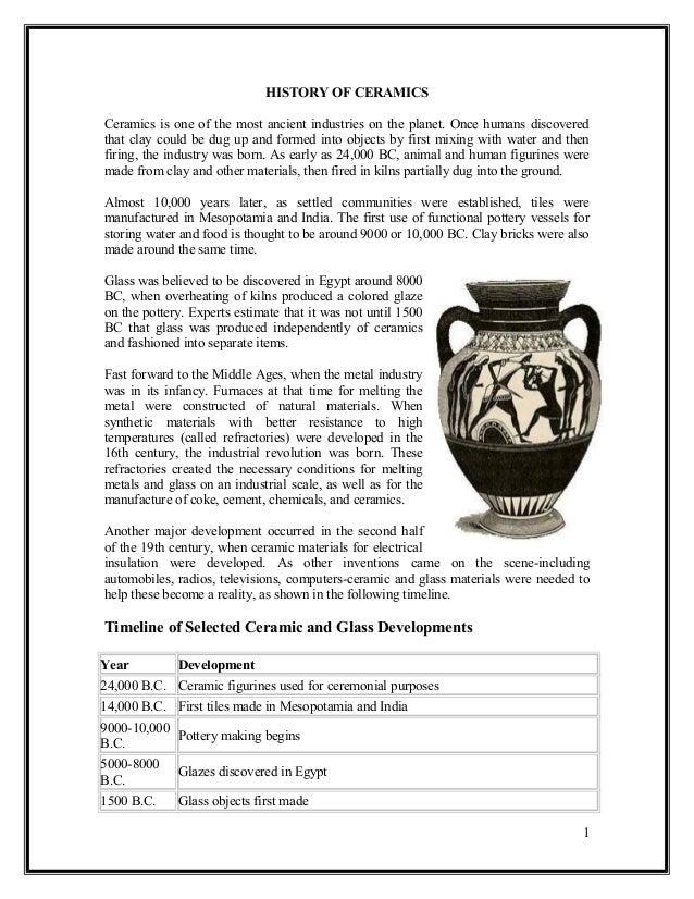 Engineering glasses and ceramics history of ceramics