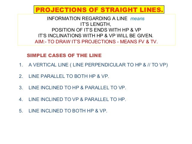 SIMPLE CASES OF THE LINE 1. A VERTICAL LINE ( LINE PERPENDICULAR TO HP & // TO VP) 2. LINE PARALLEL TO BOTH HP & VP. 3. LI...