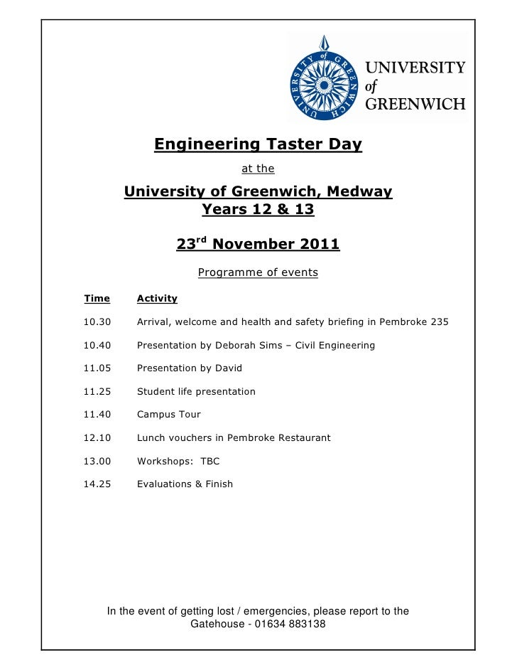 Engineering Taster Day                                 at the        University of Greenwich, Medway                  Year...