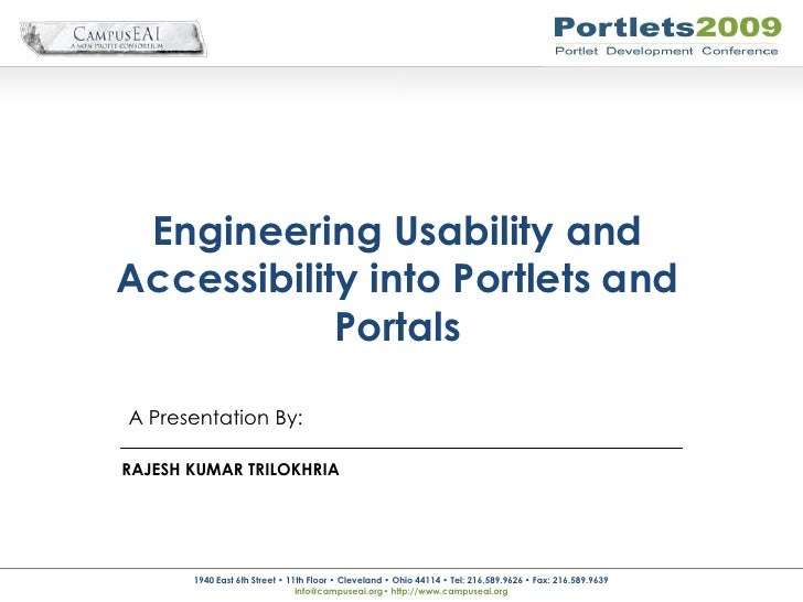 Engineering Usability And Accessibility Into Portlets And Portals