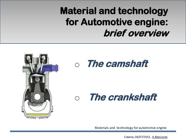 Material and technology for Automotive engine:            brief overview   o The camshaft   o The crankshaft       Materia...