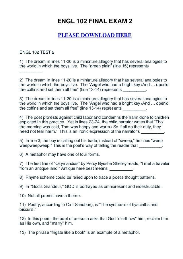 Engl 102 final exam 2