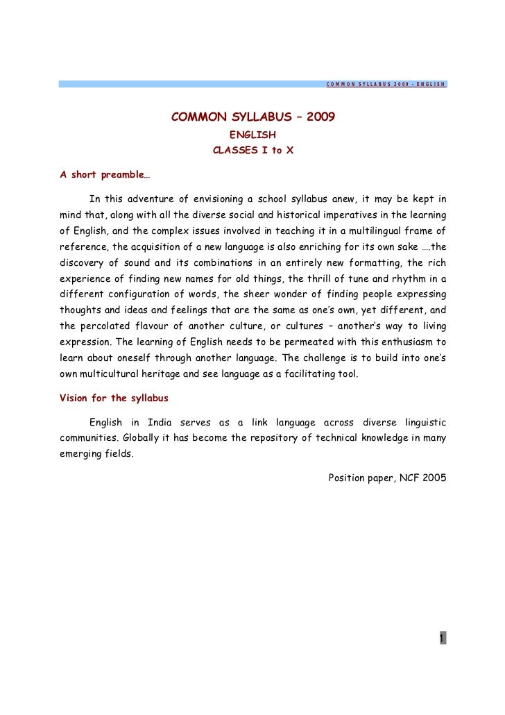 COMMON SYLLABUS 2009 - ENGLISH                          COMMON SYLLABUS – 2009                                      ENGLIS...