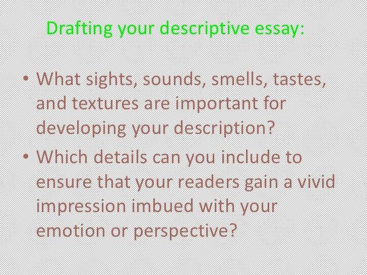 I need to write a subjective describtive essay for english class?