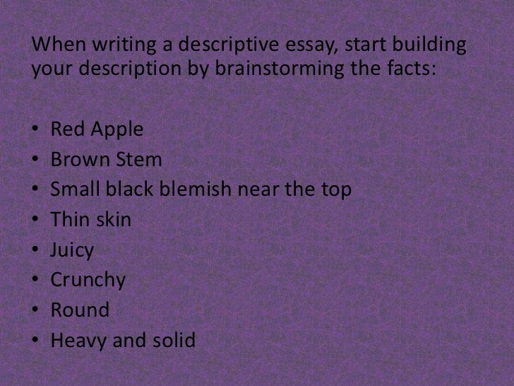 I need to write a subjective describtive essay for english class?