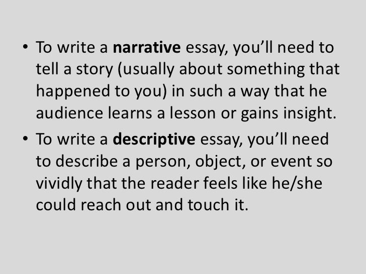 Semi Narrative Essays