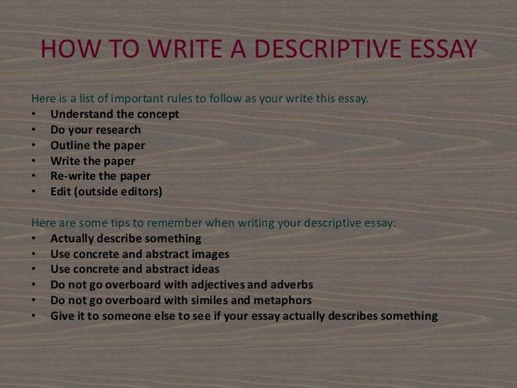 I need help starting my descriptive essay!?