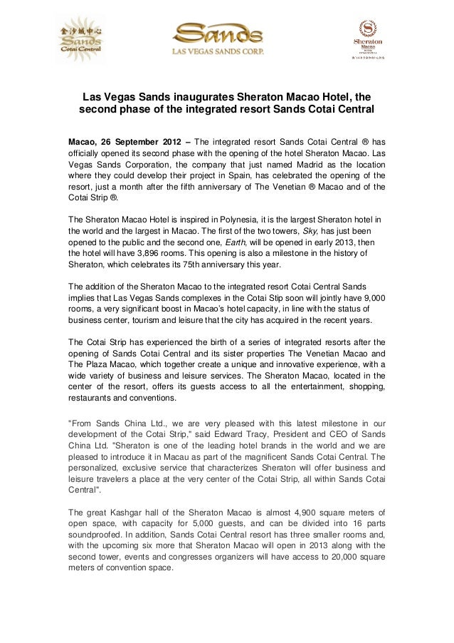 Las Vegas Sands inaugurates Sheraton Macao Hotel, the  second phase of the integrated resort Sands Cotai CentralMacao, 26 ...