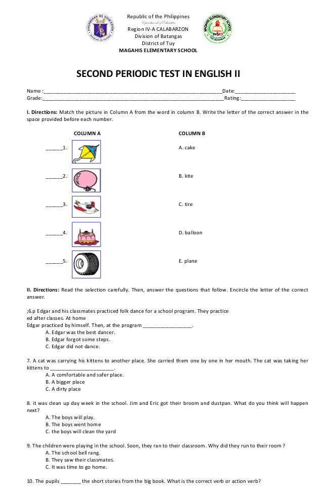 English test papers for grade 5