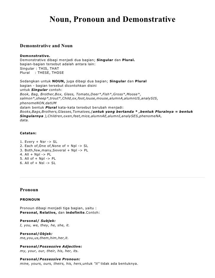 Noun, Pronoun and Demonstrative   Demonstrative and Noun Demonstrative. Demonstrative dibagi menjadi dua bagian; Singular ...