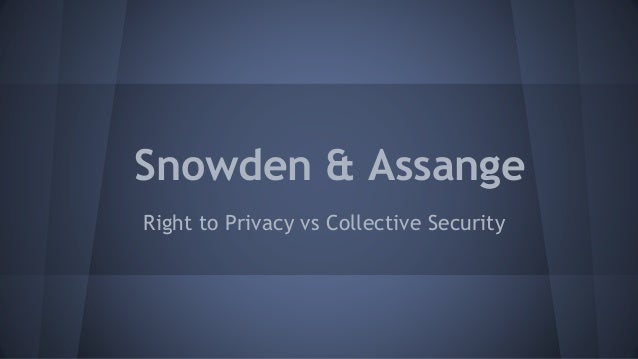 Snowden & Assange Right to Privacy vs Collective Security