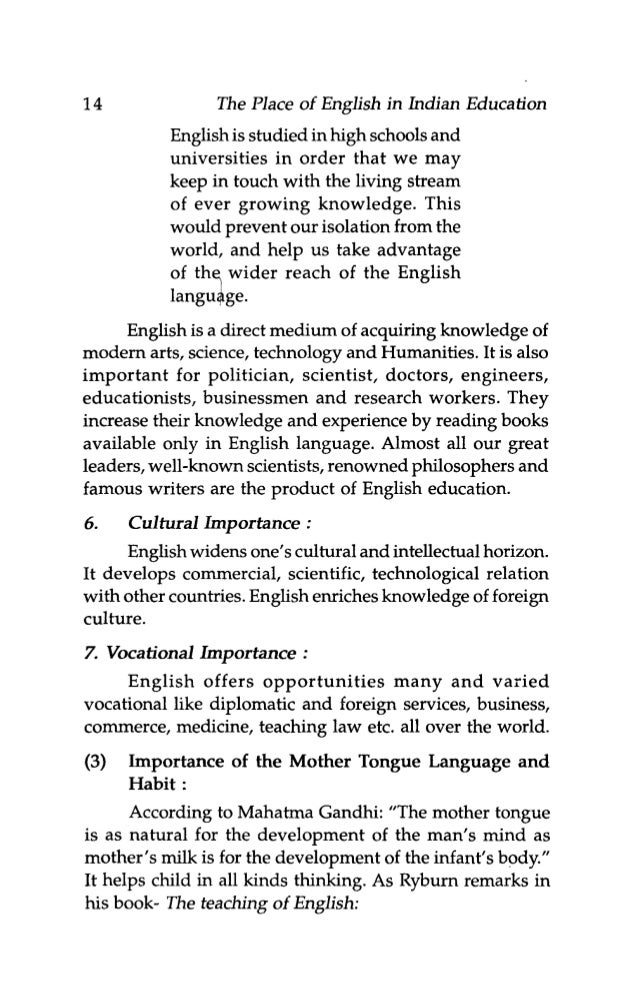 essay on mother tongue as a medium of instruction T k arun's views on why english should not be the medium of education,  published in these pages last saturday, may or may not have made.