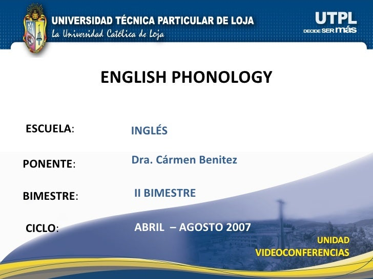 ESCUELA : PONENTE : BIMESTRE : ENGLISH PHONOLOGY CICLO : INGLÉS II BIMESTRE Dra. Cármen Benitez ABRIL  – AGOSTO 2007