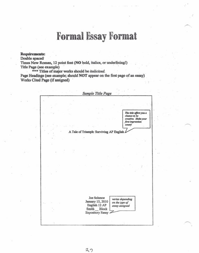 formal essay format requii ements double spaced times new roman