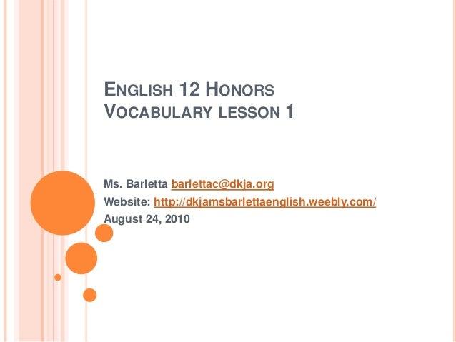English 12 honors vocab 1 dkja 2010