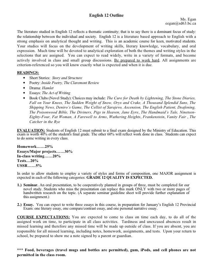 Grade 12 english essay help
