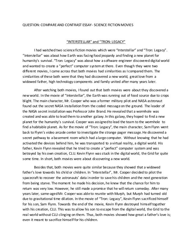 Questions on compare and contrast essay
