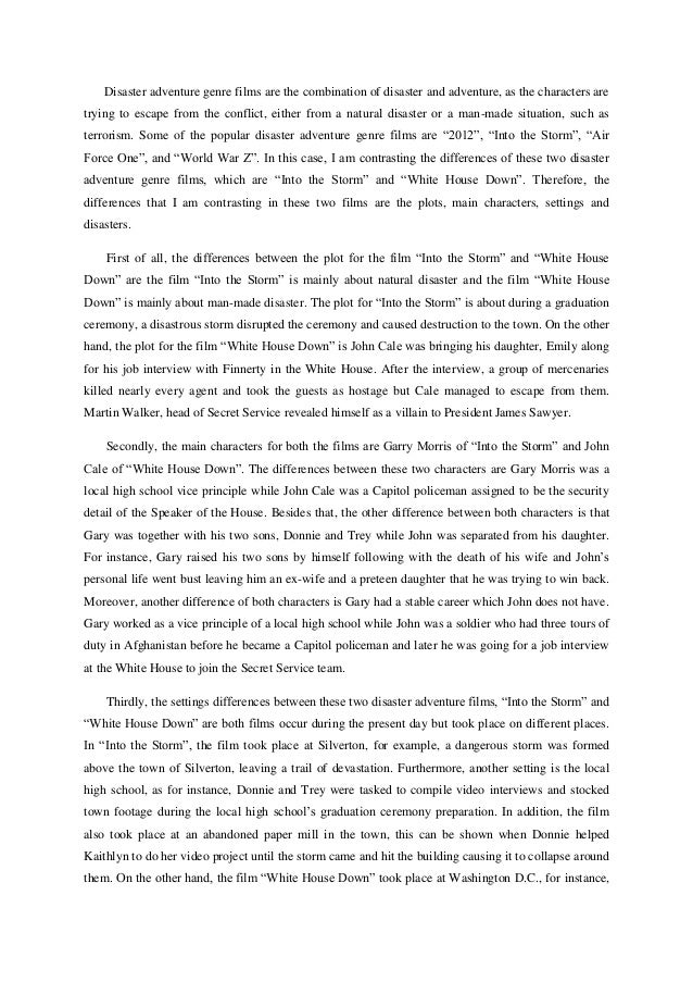 Free Sample College Natural disaster essay