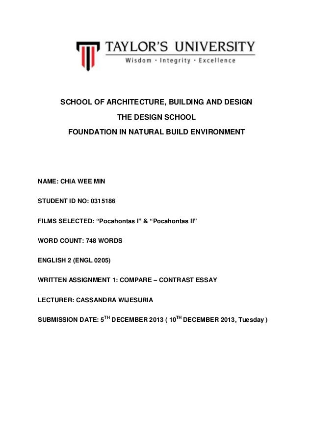 SCHOOL OF ARCHITECTURE, BUILDING AND DESIGN THE DESIGN SCHOOL FOUNDATION IN NATURAL BUILD ENVIRONMENT  NAME: CHIA WEE MIN ...