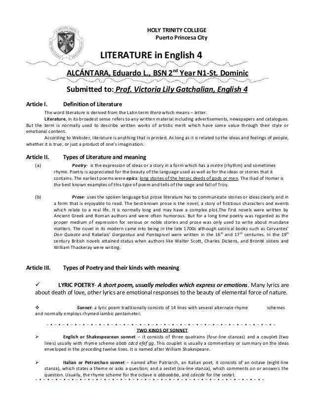 HOLY TRINITY COLLEGE Puerto Princesa City LITERATURE in English 4 ALCÁNTARA, Eduardo L., BSN 2nd Year N1-St. Dominic Submi...