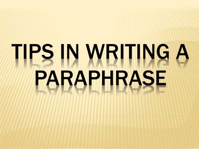 Paraphrasing in english