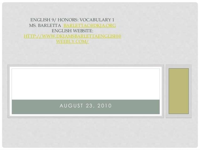 English 9 honors vocab 1 2010dkja