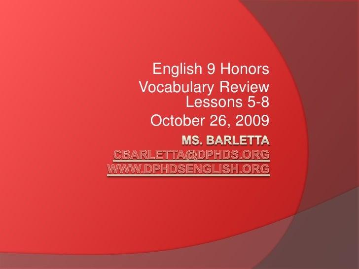 English 9 H Vocab 5 8