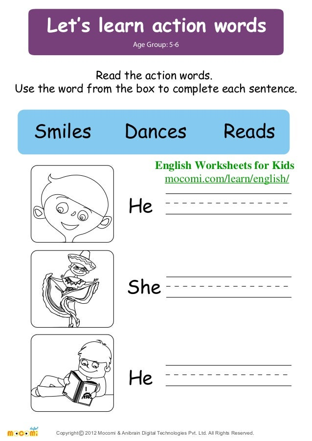 math worksheet : worksheets for learning english  worksheets madrastra a page of  : Action Words Worksheets For Kindergarten