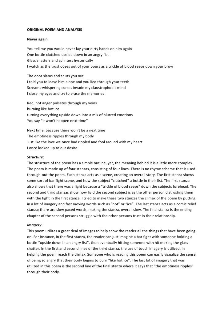 ORIGINAL POEM AND ANALYSIS<br />Never again<br />You tell me you would never lay your dirty hands on him againOne bottle c...