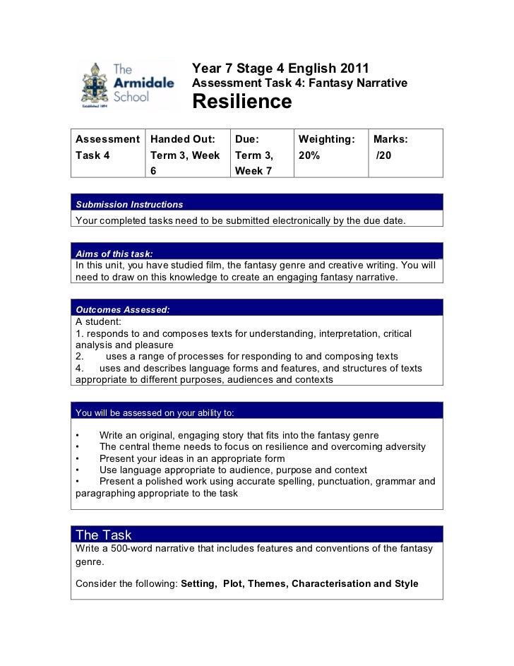 English, assessment task 4, yr 7, cmb