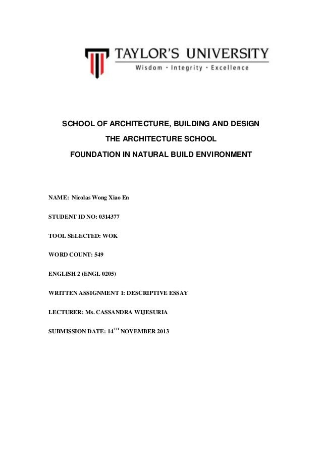 SCHOOL OF ARCHITECTURE, BUILDING AND DESIGN THE ARCHITECTURE SCHOOL FOUNDATION IN NATURAL BUILD ENVIRONMENT  NAME: Nicolas...