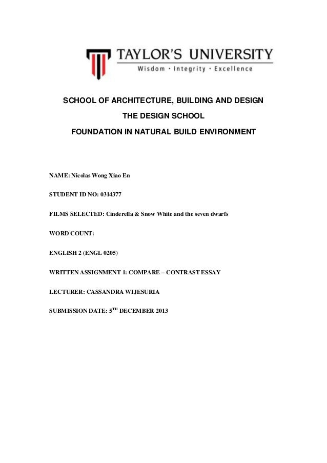 SCHOOL OF ARCHITECTURE, BUILDING AND DESIGN THE DESIGN SCHOOL FOUNDATION IN NATURAL BUILD ENVIRONMENT  NAME: Nicolas Wong ...