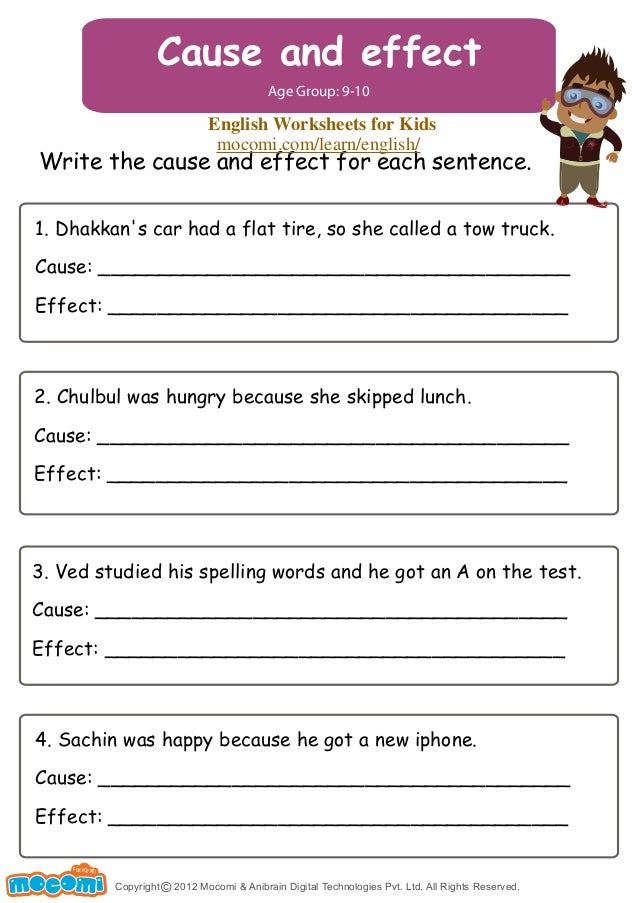 Cause and Effect – English Worksheets for Kids – Mocomi.com