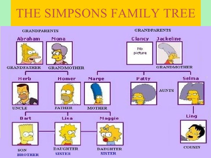 Simpsons family tree worksheet spanish