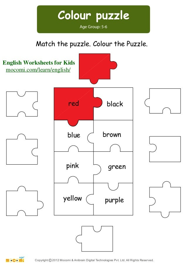 math worksheet : colour puzzle  english worksheets for kids  mo i  : Puzzle Worksheets For Kindergarten