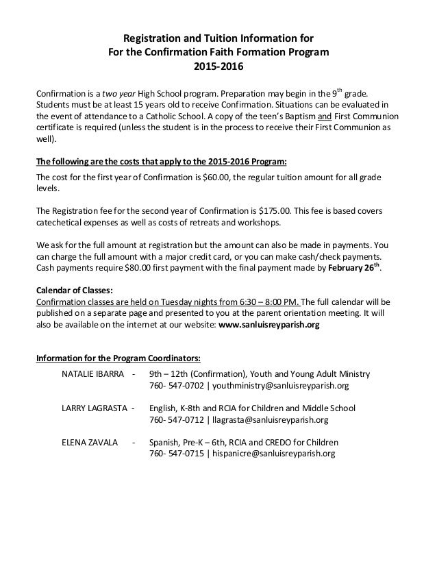 Confirmation Parents Orientation Letter 2015 2016