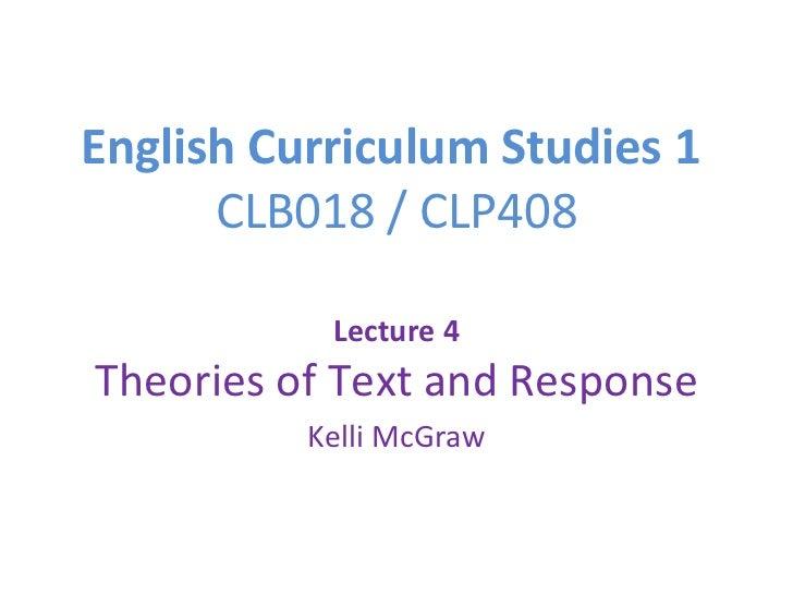 English curriculum studies 1 - Lecture 4