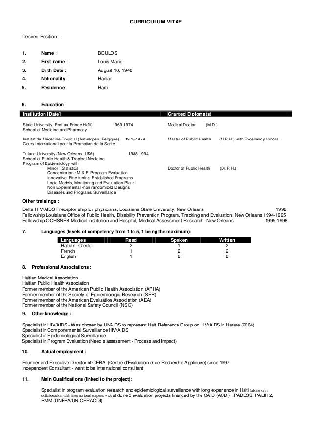 English Cv Of Louis Marie Boulos 11 12 2012