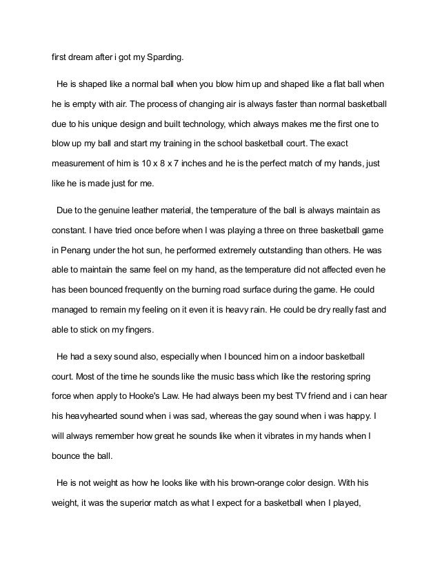 Essay on my first basketball game