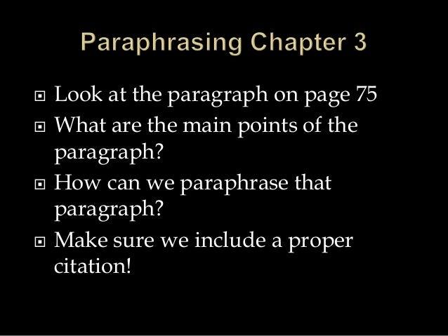Paraphrasing quiz
