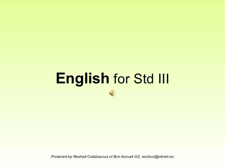 English  for Std III