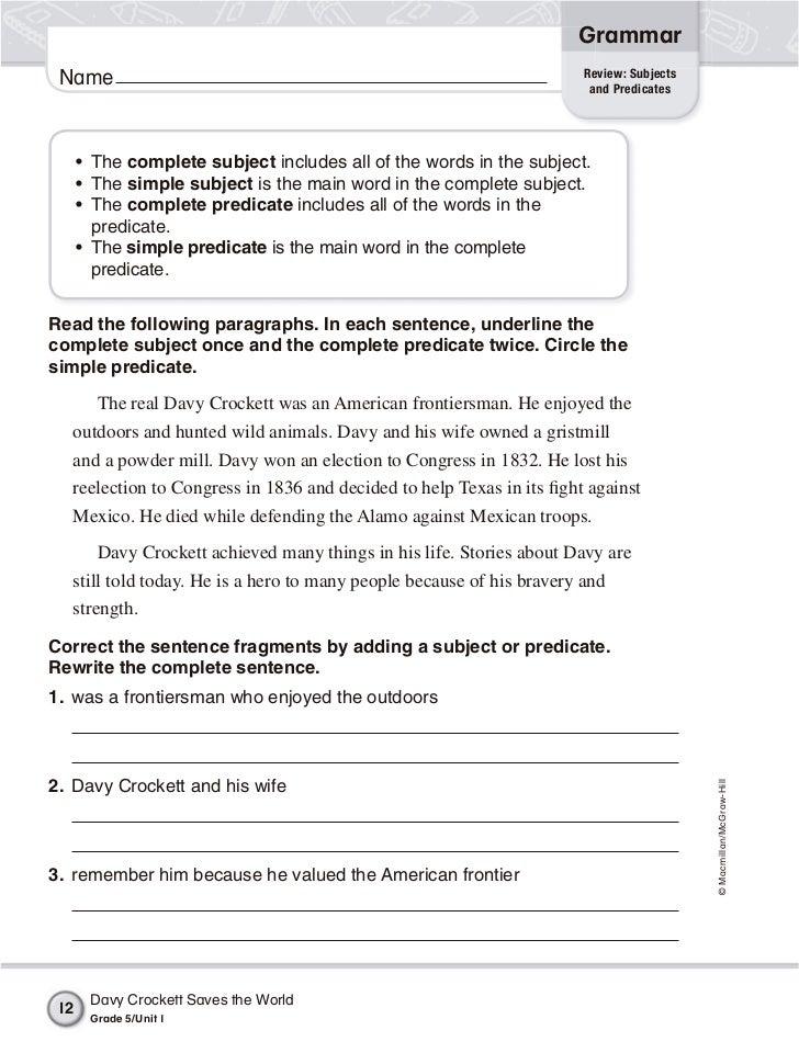 Grammar worksheets 5th grade